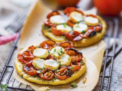 Tartelettes aux tomates cerise et fromage de chèvre