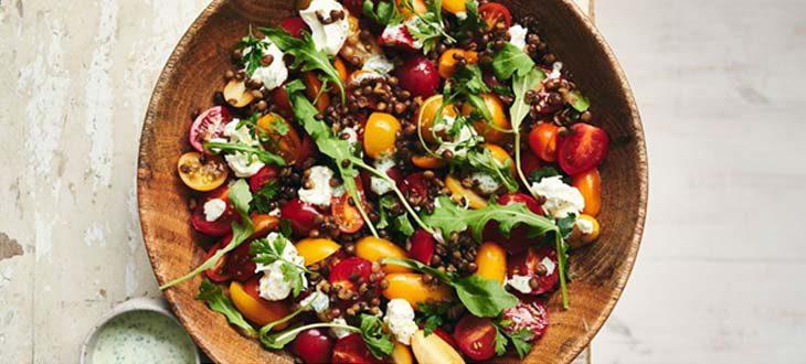 Salade de tomates cerises aux lentilles et chèvre