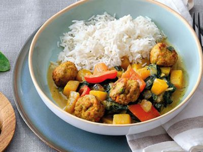 Curry indien au potiron et boulettes de légumes