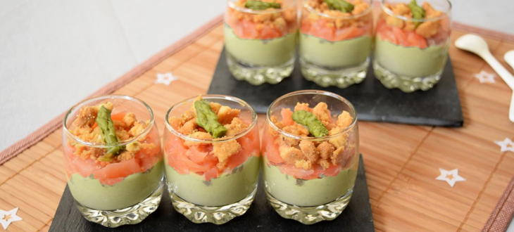 Verrines sans gluten saumon et mousseline d'asperges