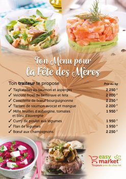 Menu Fete des meres 2021 easy market